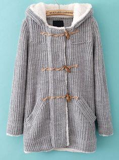 Grey Hooded Knit Coat.