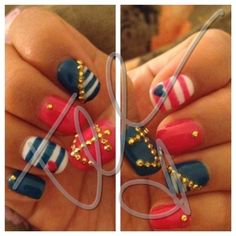 Sailor Nails Manicure - Nautical So cute Get Nails, Fancy Nails, How To Do Nails, Pretty Nails, Hair And Nails, Sailor Nails, Uñas Fashion, Fashion Today, No Ordinary Girl