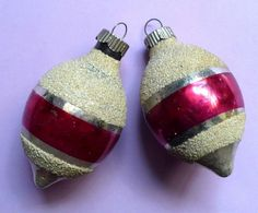 2 VINTAGE CHRISTMAS SHINY BRITE STRIPE MICA TREE ORNAMENTS NICE