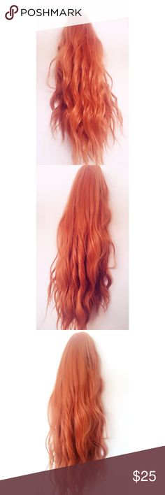 ✨Wavy Warm Ginger Wig✨ ✨Brand new never used Synthetic wavy curly warm orangey copper ginger wig✨ The fibers are very soft to the touch! The wig can be styled with heat  • Color may vary from screen to screen (I tried my best to take pictures in different lighting and angles to showcase the beautiful color!) • Length is about 16 inches • Adjustable straps in the back • Full cap wig with skin top (Not front lace or full lace!)  Feel free to ask questions and I'll try my best to answer! 😊💕✨…