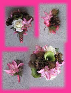 Camo wedding flowers hot pink mossy oak wedding bouquets camo