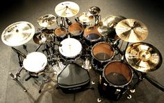Crazy drumset!  I love this set up!!!  It seems perfect and totally comfortable to play!!