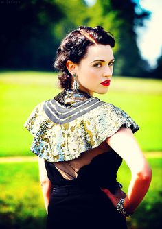 Katie McGrath....Morgana from Merlin. I'm saddened that I am nowhere near as beautiful as she is.