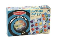 Melissa & Doug Press and Spin Game: Picture Bingo by Melissa & Doug. $6.66. Encourages fine motor and interpersonal skills.. Kids love the irresistable press-and-pop spinner; parents appreciate the classic play values and excellent quality.. Includes 4 Bingo cards, 48 markers, spinner and instructions.. Great for family game night!. Bingo game with a press-and-pop spinner. From the Manufacturer                Press & Spin games fit in little boxes - but they're big fun on...