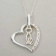 Marsala Sterling Silver Cat in Heart Necklace