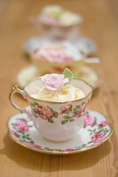 Tea:  Pretty cupcakes for #tea time. Or put jello and frosting for a vintage tea party