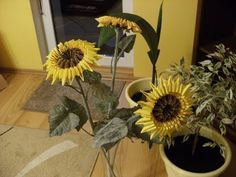 3D origami - SUNFLOWER - how to make instruction - YouTube