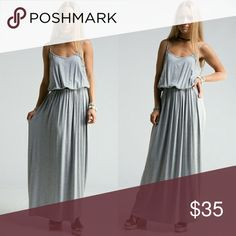 Brand new with tags heather gray maxi dress Elastic waist camisole maxi dress, personally my favorite! I do accept reasonable offers! Dresses Maxi