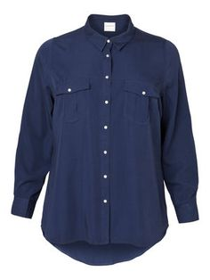 TON LS SHIRT: This lovely blue coloured shirt goes well with a pair of jeans or dress it up with a leather skirt. #junarose #fashion #shirt #blue #curvy @JUNAROSE