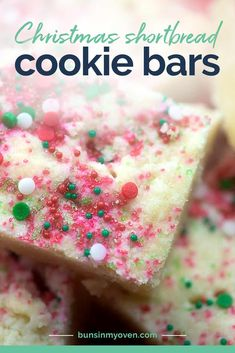 These shortbread bars are rich and buttery with a scattering of Christmas sprinkles! So easy and perfect for a holiday dessert.
