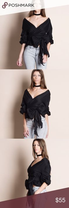 """Off Shoulder Puff Sleeve Wrap Top Off shoulder puff sleeve wrap top. This is an ACTUAL PIC of the item - all photography done personally by me. Model is 5'10"""", 33""""-24""""-36"""" 32C wearing the size small. NO TRADES DO NOT BOTHER ASKING. Runs true to size. Bare Anthology Tops Blouses"""