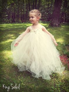 Flower Girl Tutu Dress Ribbon Sash Rolled Tulle and Ribbon Rose Full Length Tutu Champagne and Ivory Custom Colors Infant to Child Size 6. $115.00, via Etsy.