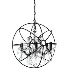 Buy Oscar Iron & Crystal Chandelier, 6 Arm from LivingStyles for Australia wide delivery. Clear crystal chandelier enclosed in an antique black spherical iron cage. Requries 6 x Bulbs (max. Ceiling Fixtures, Ceiling Lights, Temple Of Light, Clear Crystal, Bulb, Iron, Crystals, Lighting, Antiques