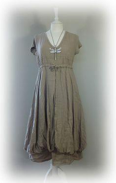 ♥ Stunning... 100% Linen Lagenlook Quirky Dress Size XL 16 18   eBay
