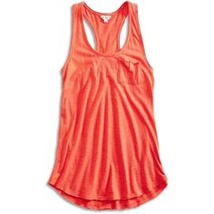Lucky Brand Lucky Lotus Washed Tank ($17) ❤ liked on Polyvore featuring tops, grenadine, red racerback tank top, red top, red tank top, ruched tank top and long tops