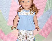 "American Girl Doll Clothes, Fits 18"" Doll, Pajama set with Capri bottoms."