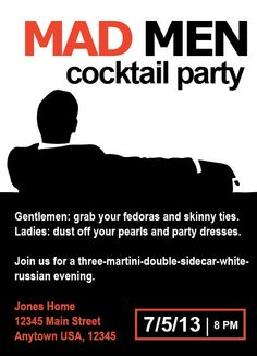 Mad Men 1960's Cocktail Party Invitation