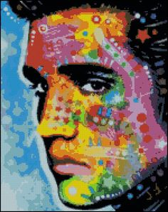 Elvis Abstract - Counted Needle Point and Cross Stitch Chart Patterns. $9.99, via Etsy.