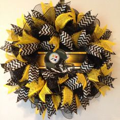 Pittsburgh Steelers Wreath deco mesh sport by BayWreathDesigns