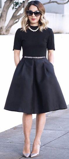 #winter #fashion / Black Dress / Grey Pumps