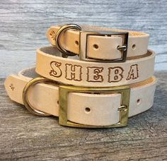Handmade Personalized Leather Dog Collar with FREE Name