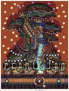 ☮ American Hippie Rock Music Psychedelic Art Poster ~ Pearl Jam, Band of Horses- Cleveland
