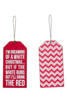 Something to do as a gift idea for the holiday party.  Inexpensive, yet cute and so my friends.    Primitives by Kathy 'I'm Dreaming' Wine Tag Ornament available at #Nordstrom
