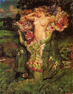 Byam Shaw (1872-1919) Rising весна. (Like Venus rising from the Garden...)
