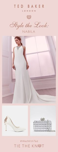 Style the look: Go for glamour in Ted's NABILA gown and matching embellished accessories. Tie The Knots, Here Comes The Bride, Bridal Boutique, Bridal Collection, Well Dressed, Ted Baker, Glamour, Tb Test, Gowns
