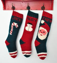 Knitted Christmas Stockings / Personalized by CampKitschyKnits