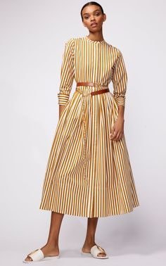 Belted Striped Cotton-Poplin Midi Dress by Oscar de la Renta Cotton Shirt Dress, Striped Shirt Dress, Poplin Dress, Jacquard Dress, Cotton Dresses, Modest Fashion, Fashion Dresses, Stripes Fashion, Fashion 2020