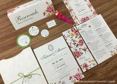 Identidade visual casamento. Identidade visual para casamento formada por convite de casamento, menu personalizado, adesivo, tag, vale conforto, plaquinha