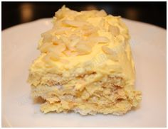 "Sansrival, a Filipino-European dessert.  The recipe description: ""It's an almond torte and consists of layered crispy meringue with almonds and buttercream. There is also another dessert that is similar to this called Sylvannas, the only difference being the Sylvannas is shaped like a huge egg but it tastes the same."""