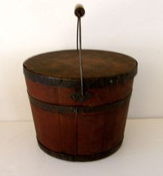 19th C. Nice Early Lidded Red Shaker Bucket