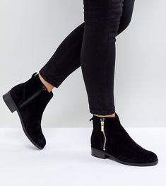 New Look Wide Fit Suede Flat Ankle Boot - Black