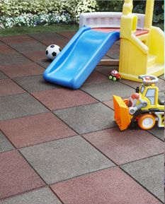 perfect for playgrounds and recycled rubber tiles are impact - friendly for kids.