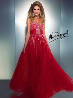 Red Long Prom Dress | Mac Duggal 61307A