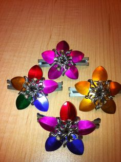 """""""Penny Blossoms"""" in chain mail. Chain Mail, Blossoms, Brooch, Jewelry, Brooch Pin, Flowers, Jewlery, Chain Letter, Jewels"""