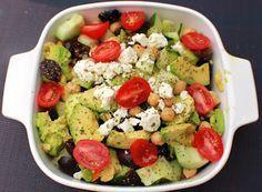 Avocado Chickpea Cucumber and Tomato Salad