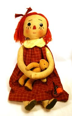Hutterite Doll with Teddy Bear ~ very interesting people ~ similar to the Amish.