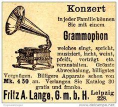 Original-Werbung/ Anzeige 1907 - GRAMMOPHON / FRITZ A. LANGE - LEIPZIG - ca. 45 x 40 mm