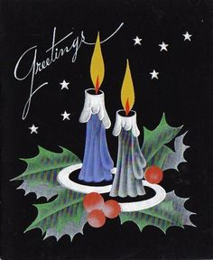 Vintage Christmas Card  candles and holly
