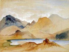 Thomas Moran (1837 - 1926)   Romanticism   Cinnabar Mountain, Yellowstone River (watercolour) - 1871