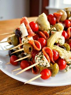 Antipasto Skewers - A fun and easy party food! Check out more recipes like this! Visit yumpinrecipes.com/