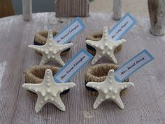 Knobby Starfish Napkin Ring Place Cards and Favors/ Rustic Twine/ Sailors/ White, Natural Stars/ Reception Dinner Beach Weddings Events SEA - product images  of