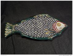 Ceramique Grand Plat Poisson Tunisien Faïence de Tunisie Nabeul orientale Tunisia Afrique Orientalist