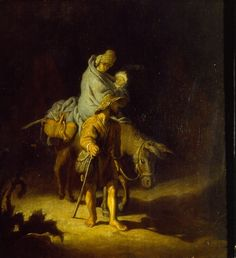 Rembrandt - La fuite en Egypte musee-des-beaux-arts-de-Tours - 26x24 cm