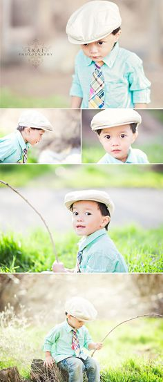 Little boy poses :-) ~ Cute! Great idea for Griffon's 2nd Birthday!