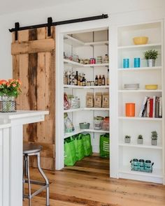 Installing interior barn door hardware can transform the look of your room. Read these steps in buying interior barn door hardware. Kitchen Pantry Doors, Barn Door Pantry, Kitchen Pantry Design, Walk In Pantry, Sliding Pantry Doors, Kitchen Cabinets, Home Renovation, Home Remodeling, Space Saving Doors