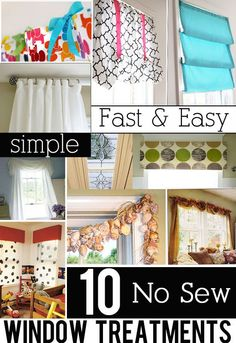 10 No Sew and Easy to make Window Treatment Ideas that anyone can make.